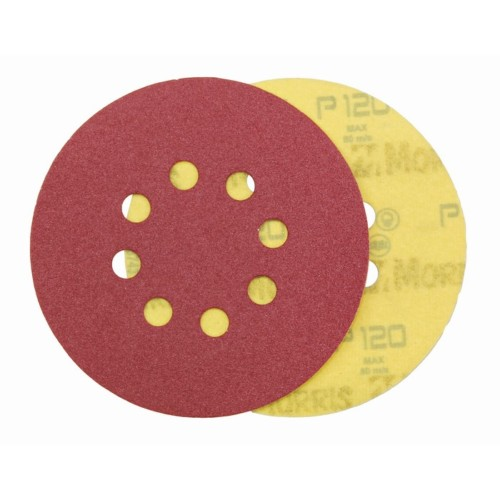 Item-3126-VELCRO DISC RED   125 mm 8 HOLES   ΜΟRRIS